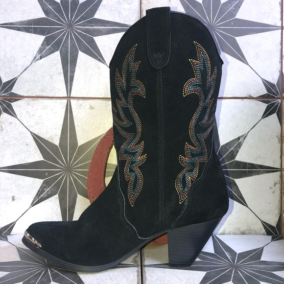 43f08ba0078 Dingo Suede Cowgirl Boots With Rainbow Stitching